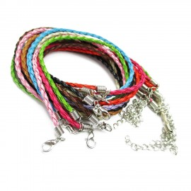 18-Inch Braided Leather Necklace Cord with Extenders 3 mm - Mixed Colors