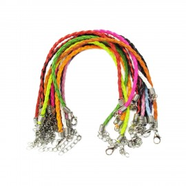 7.5-Inch Braided Leather Bracelet Cords with Extenders 3 mm
