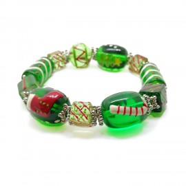 Elastic Christmas Large Bead Bracelets - Green