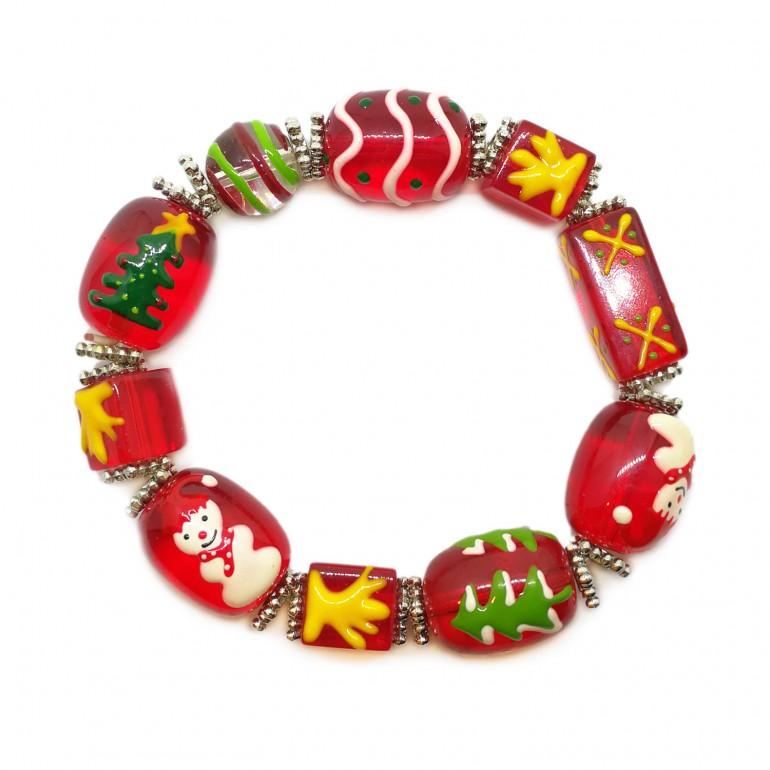 Elastic Christmas Large Bead Bracelets - Red