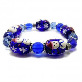 Elastic Christmas Large Bead Bracelets - Royal Blue
