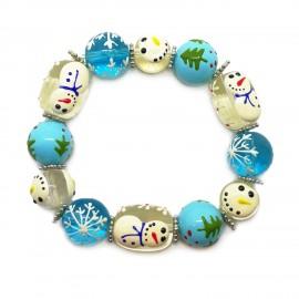 Elastic Christmas Large Bead Bracelets - Light Blue
