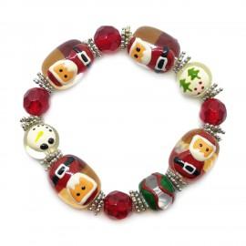 Elastic Christmas Large Bead Bracelets - Orange