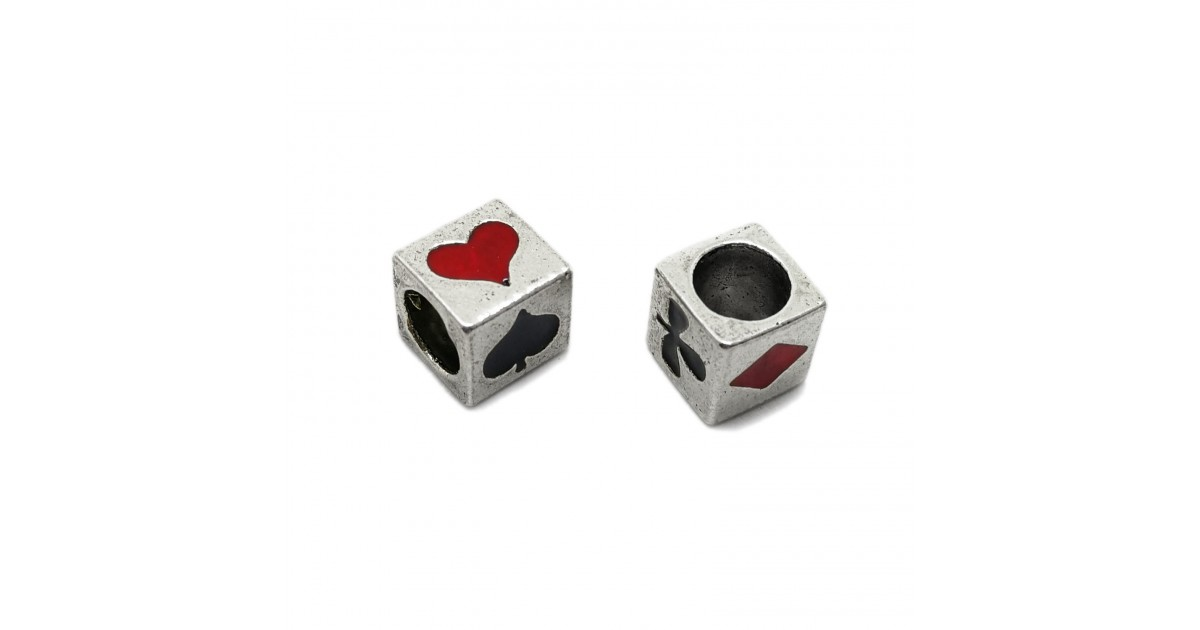 All-4-Suits Clubs Diamonds Hearts Spades Cube Beads - Black & Red