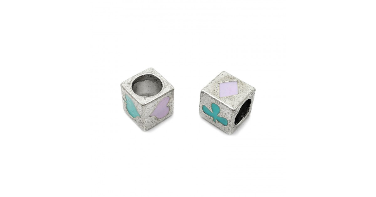 All-4-Suits Clubs Diamonds Hearts Spades Cube Beads - Teal Blue & Lilac Purple