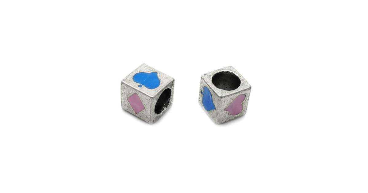 All-4-Suits Clubs Diamonds Hearts Spades Cube Beads - Light Pink & Blue