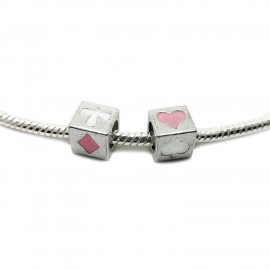 All-4-Suits Clubs Diamonds Hearts Spades Cube Beads - White & Light Pink
