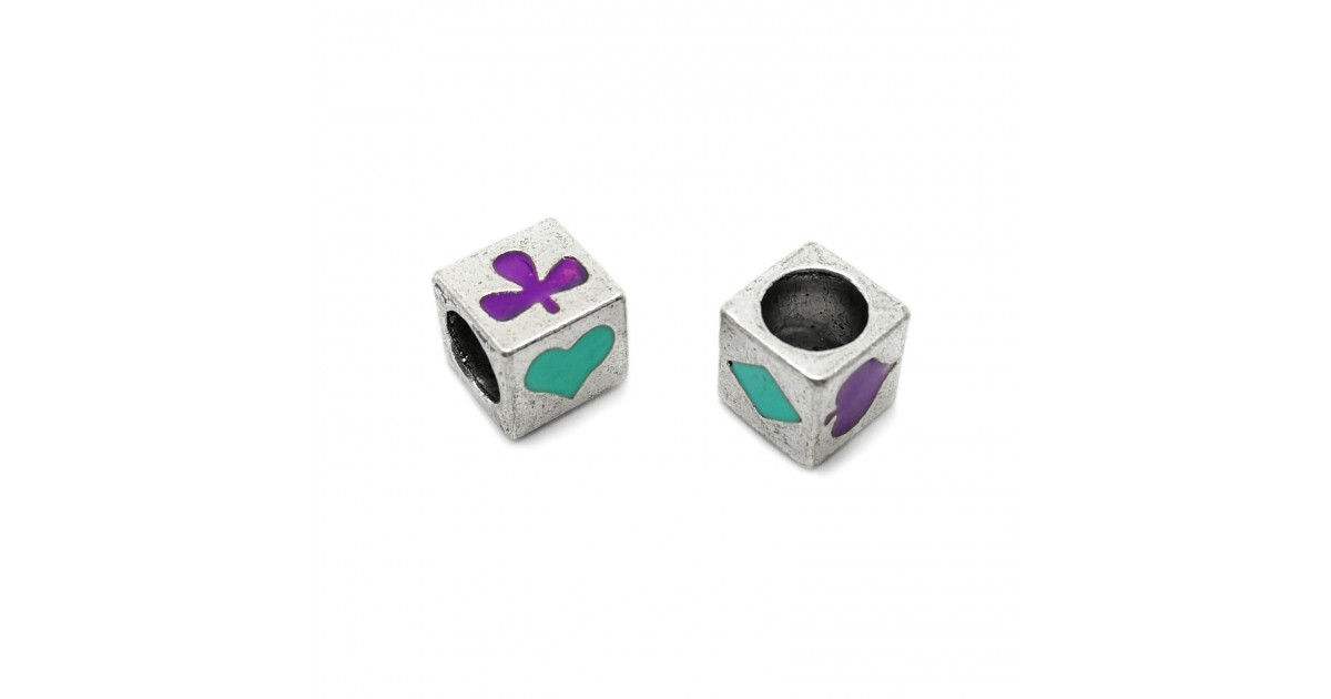 All-4-Suits Clubs Diamonds Hearts Spades Cube Beads - Teal Green & Purple