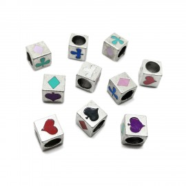 All-4-Suits Clubs Diamonds Hearts Spades Cube Beads - Mixed
