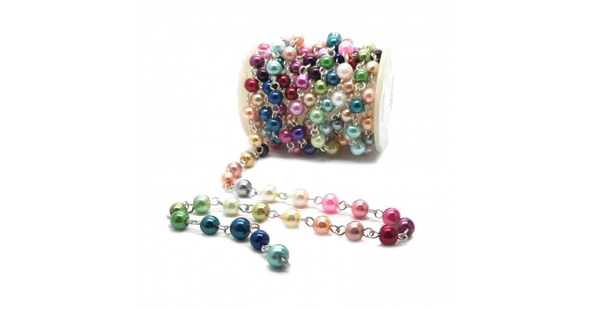 Handcrafted Glass Pearl Beaded Chains - Rainbow Mix