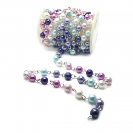Handcrafted Glass Pearl Beaded Chains - Guradual Purple-Blue