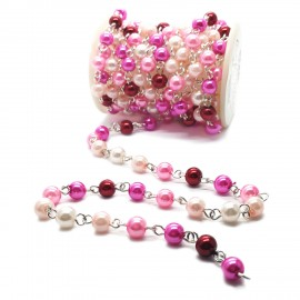 Handcrafted Glass Pearl Beaded Chains - Guradual Pink