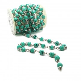 Handcrafted Glass Pearl Beaded Chains - Turquoise Green