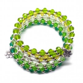 Gradual-fade Crystal Beaded Coil Bracelet -  Green
