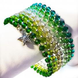 Gradual-fade Crystal Beaded Coil Bracelet -  Green
