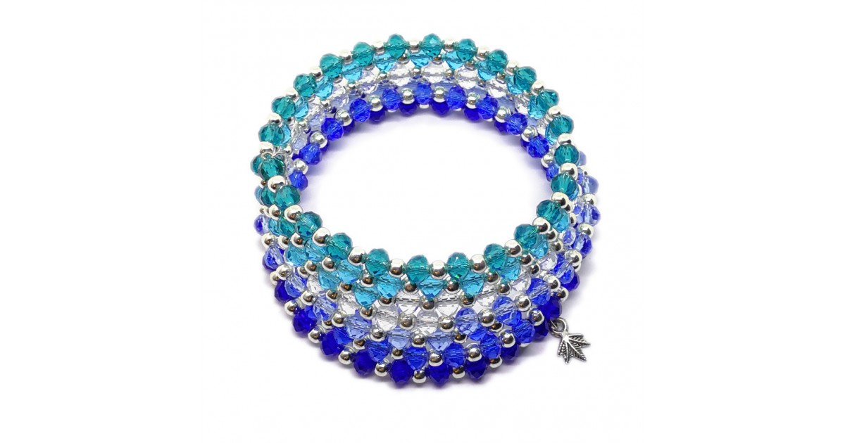Gradual-fade Crystal Beaded Coil Bracelet -  Royal Blue