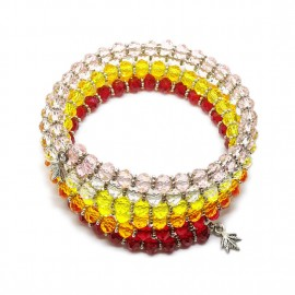 Gradual-fade Crystal Beaded Coil Bracelet -  Red