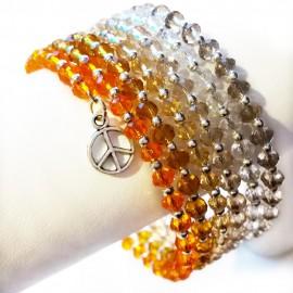 Gradual-fade Crystal Beaded Coil Bracelet -  Amber