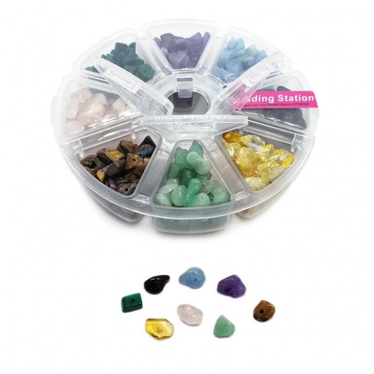 Natural Gemstone Chip Beads 5~10 mm - 8 Combo Box - Gem Color 2
