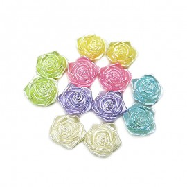 Flatback 3D Rose Cabochons - Assorted Colors
