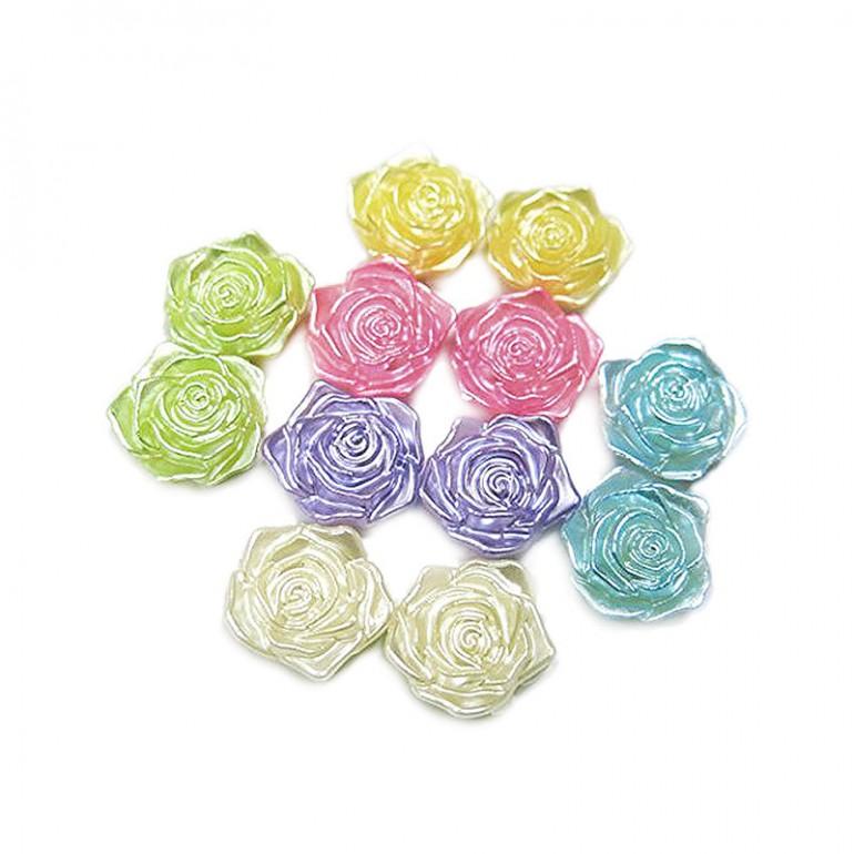 Flatback 3D Rose Cabochons - Assorted Colors
