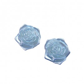 Flatback 3D Rose Cabochons - Blue