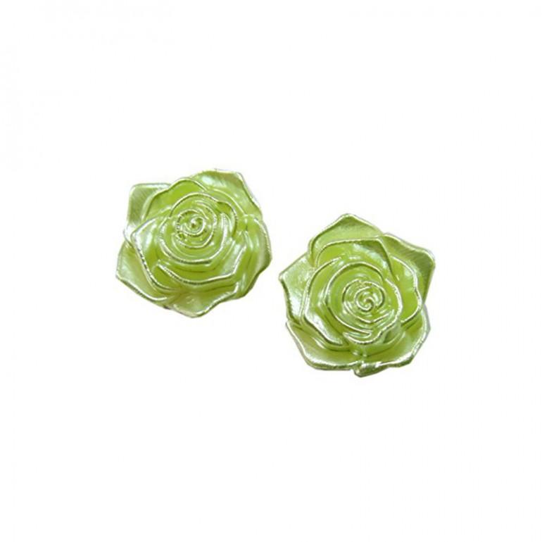 Flatback 3D Rose Cabochons - Green