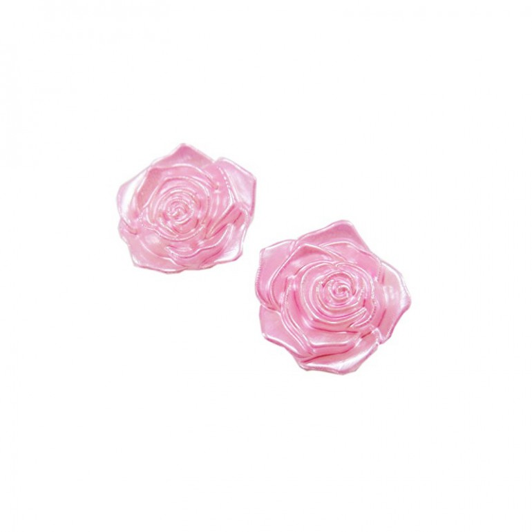 Flatback 3D Rose Cabochons - Light Pink