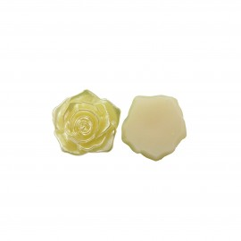Flatback 3D Rose Cabochons - Yellow