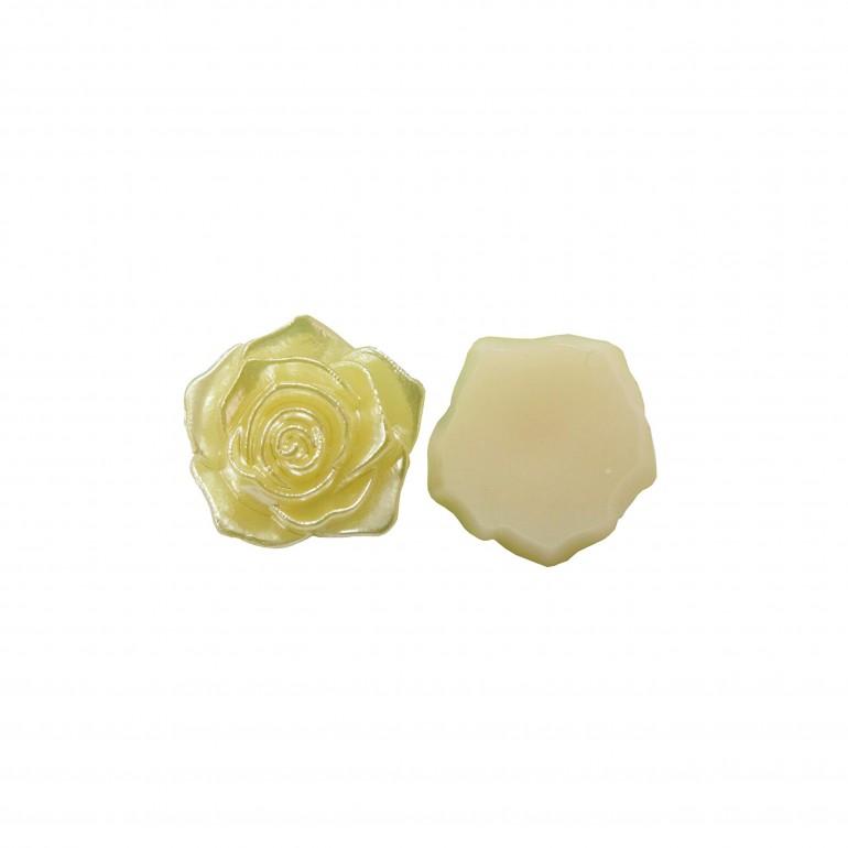 Flatback 3D Rose Cabochons - Yellow