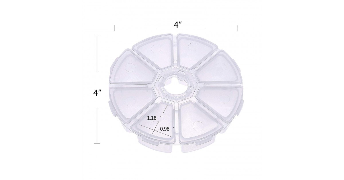 8-Compartment Plastic Round Storage Box