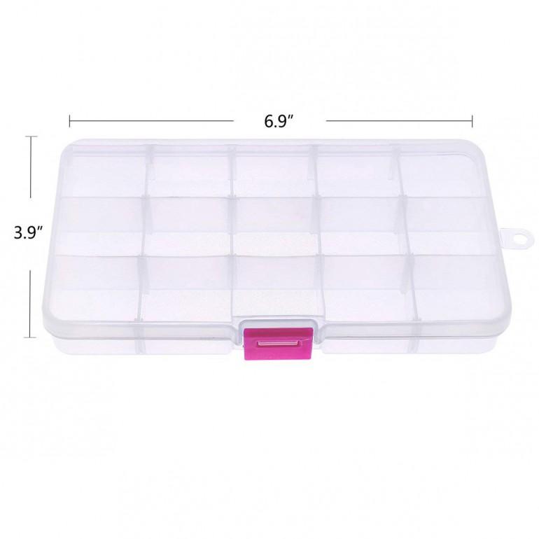 15-Compartment Plastic Adjustable Storage Box
