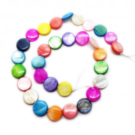 Strand of Mother of Pearl Shell Coin Beads 12 mm - Assorted Colors