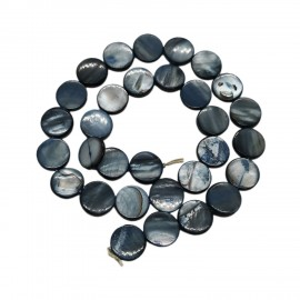 Strand of Mother of Pearl Shell Coin Beads 12 mm - Black