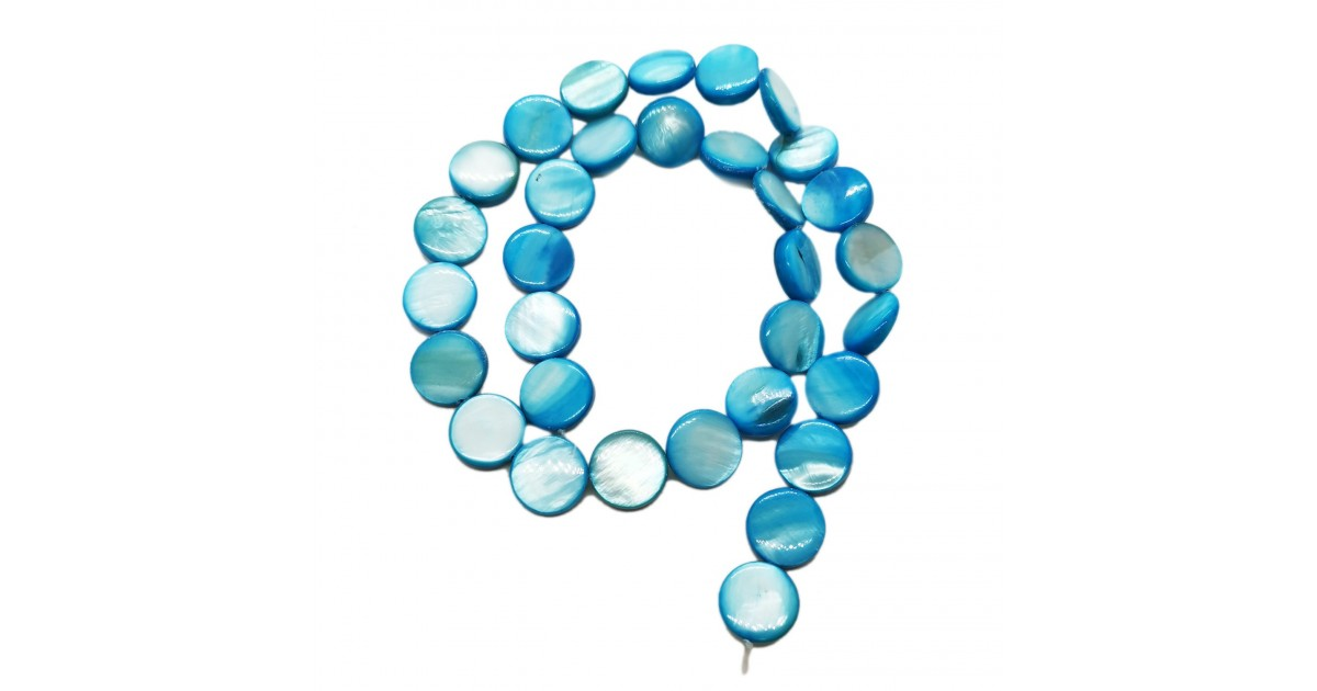 Strand of Mother of Pearl Shell Coin Beads 12 mm - Blue