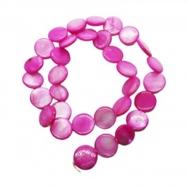 Strand of Mother of Pearl Shell Coin Beads 12 mm - Hot Pink