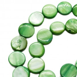 Strand of Mother of Pearl Shell Coin Beads 12 mm - Green