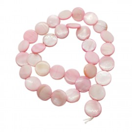 Strand of Mother of Pearl Shell Coin Beads 12 mm - Light Pink