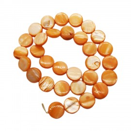 Strand of Mother of Pearl Shell Coin Beads 12 mm - Orange