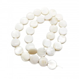 Strand of Mother of Pearl Shell Coin Beads 12 mm - White