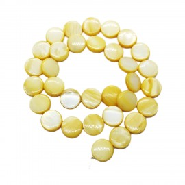 Strand of Mother of Pearl Shell Coin Beads 12 mm - Yellow