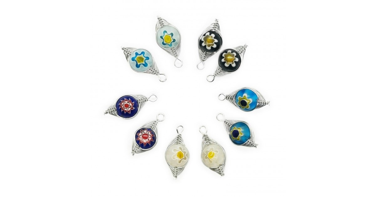 Handcrafted Wire Wrapped Millefiori Flower Bead Pendants