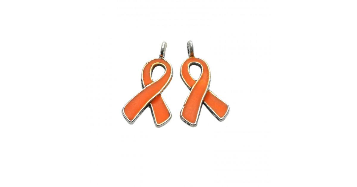 Oil-Drip Awareness Ribbon Charms - Orange