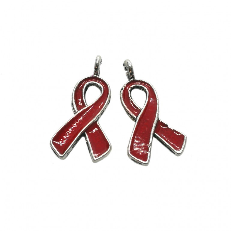 Oil-Drip Awareness Ribbon Charms - Red