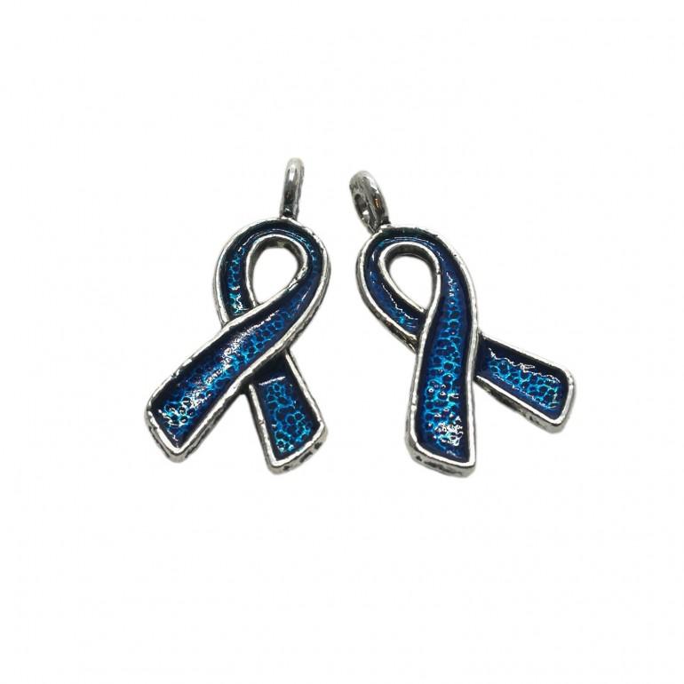Oil-Drip Awareness Ribbon Charms - Royal Blue