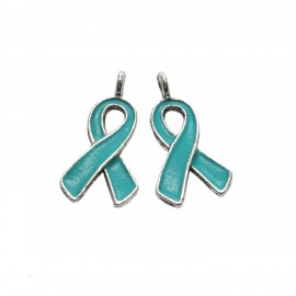 Oil-Drip Awareness Ribbon Charms - Teal Blue