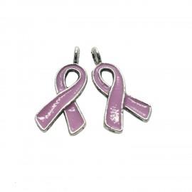 Oil-Drip Awareness Ribbon Charms - Violet