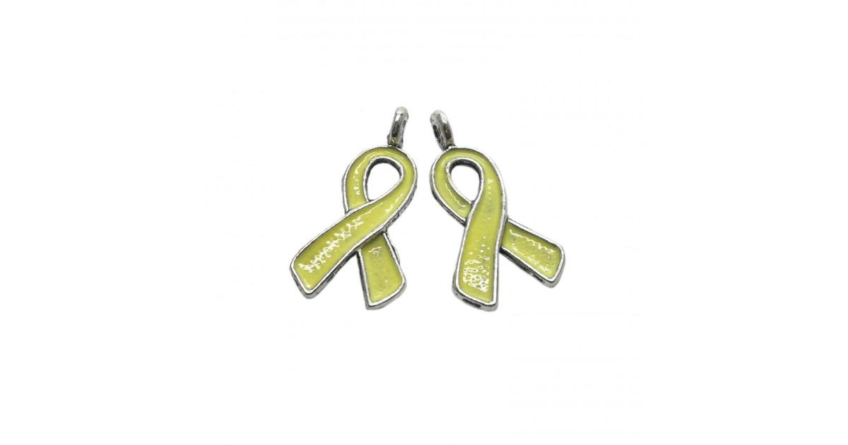 Oil-Drip Awareness Ribbon Charms - Yellow