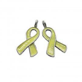 Oil-Drip Awareness Ribbon Charms - Yellow