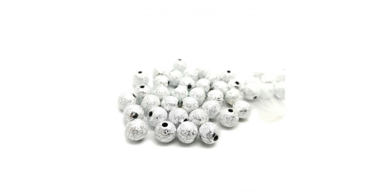 Stardust Acrylic Round Spacer Beads 10mm - Silver